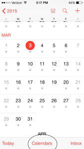 Open the iPhone's calendar app and click on Calendars