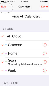 Select Edit under iCloud Calendars