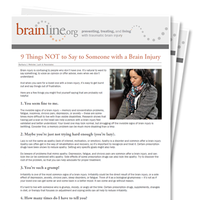 9 things not to say to someone with a brain injury brainline