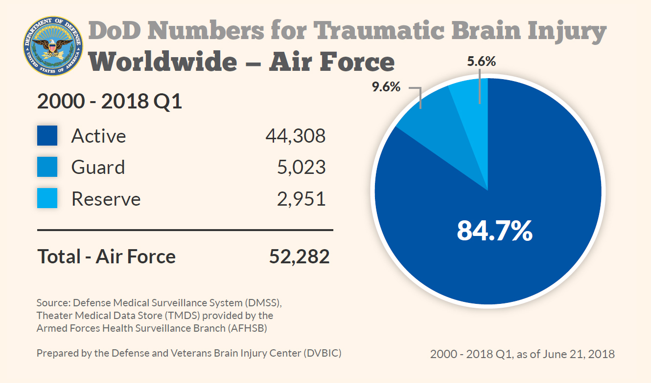 Department of Defense: Air Force TBI Numbers 2000-2018 Q1