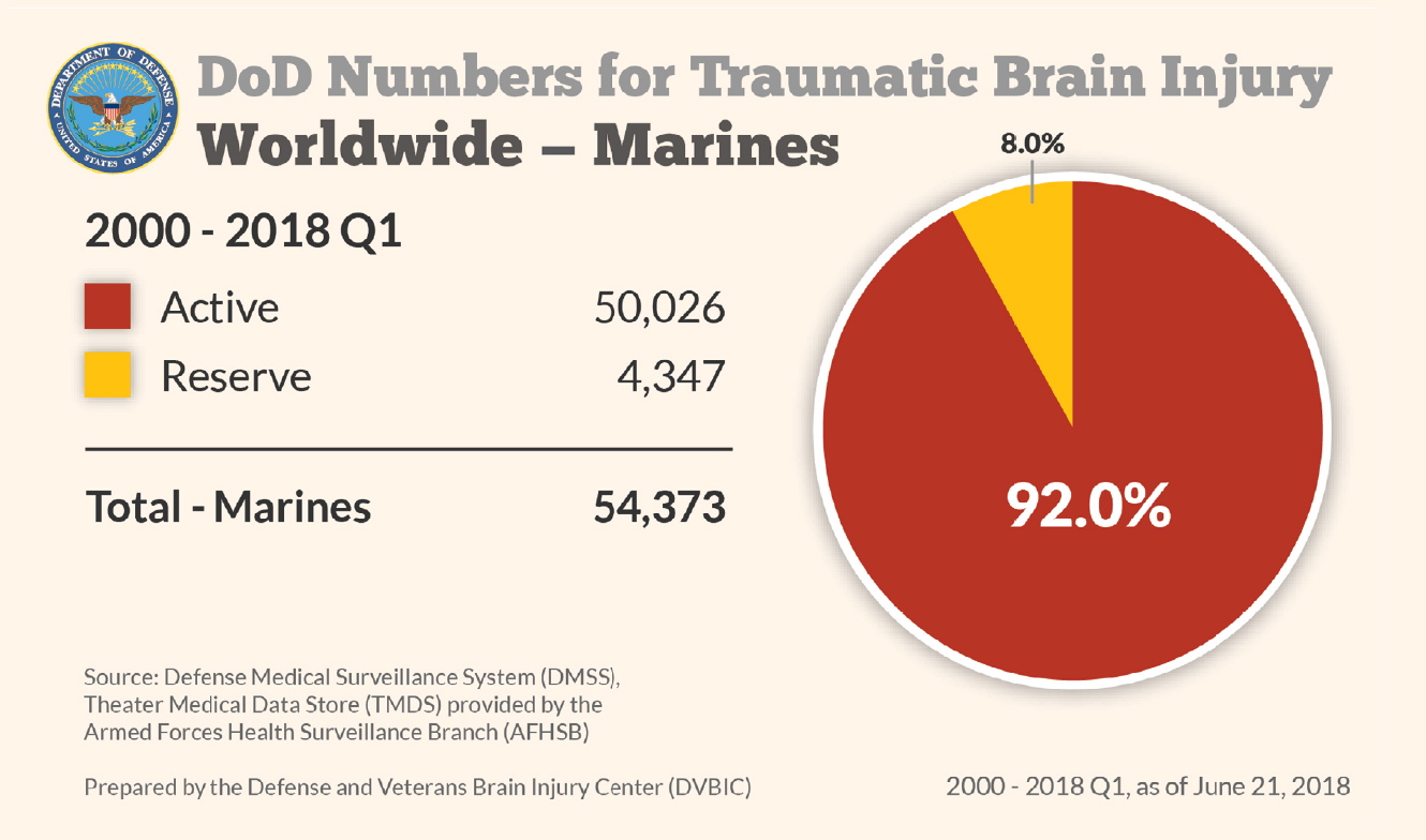 Department of Defense: Marines TBI Numbers 2000-2018 Q1