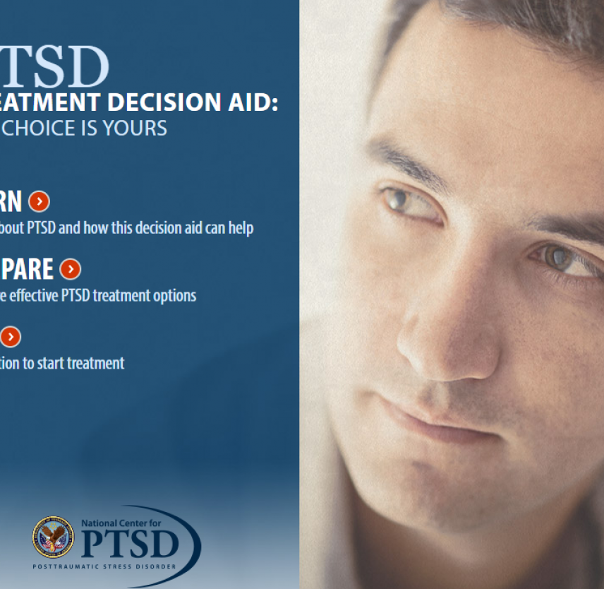 cover image for PTSD Treatment Decision Aid showing menu and man's face