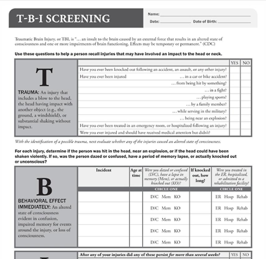 TBI Screening Tool