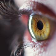 Close-up of green eye.