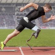 Man running on a spring foot.