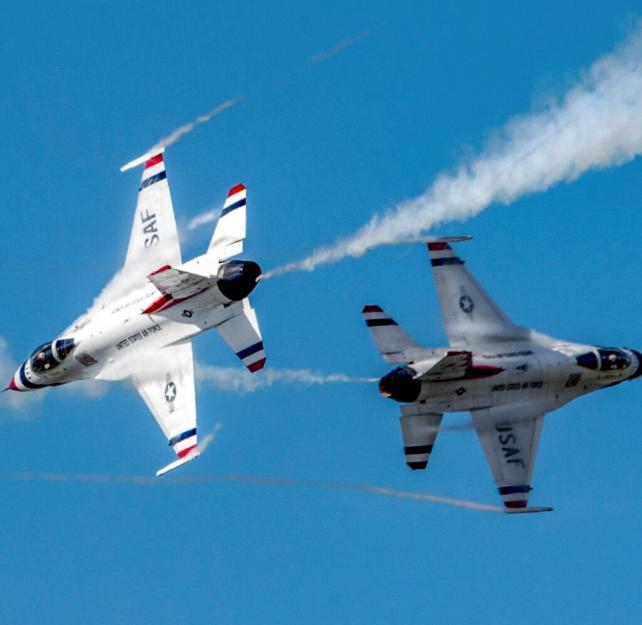 The U.S. Air Force Thunderbirds Demonstration Team performs precision aerial maneuvers June 30, 2018. (U.S. Air Force photo by Alejandro Peña)