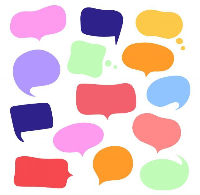 Multi-colored and empty speech bubbles.